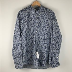 Lucky Brand Button Down Slim Floral Shirt Large